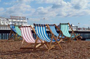 deck chairs on Brighton beach