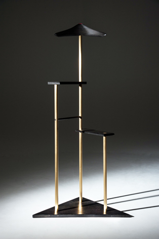 Valet stand 4000 year old bog oak, bronze and leather.