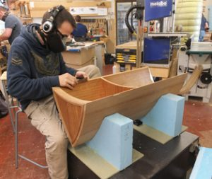 Thibaut finishing his Riva inspired cabinet.