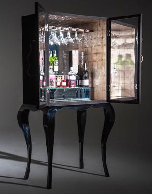 Christian Watson - black suede drinks cabinet