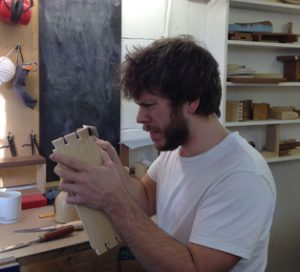 Jo has his concentrating face on. Dovetails!