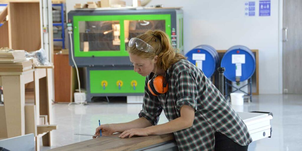 Student using the table saw