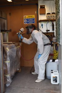 Fabio doing some spraying in our spray booth