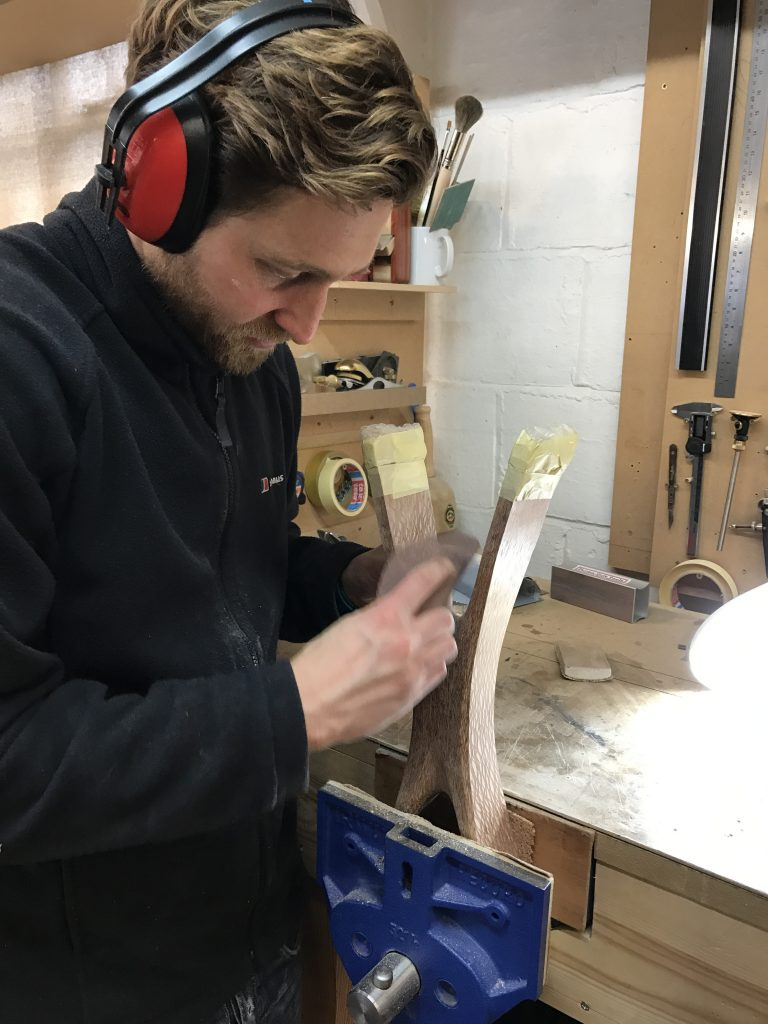 Laurent working on his Sika console table, which won him a Guild Mark
