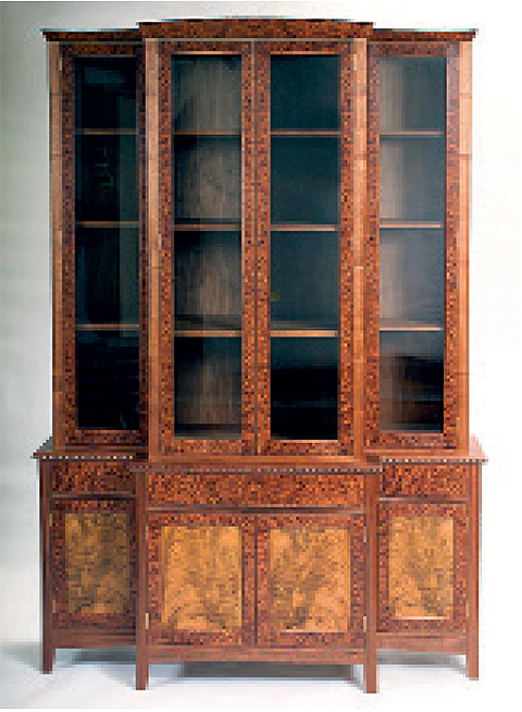 A bookcase in American walnut, made while at the Barnsley Workshop